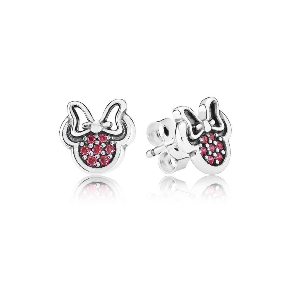 Disney Sparkling Minnie Stud Earrings - Sterling Silver with Clear and Red CZ - PANDORA - 290580CZR