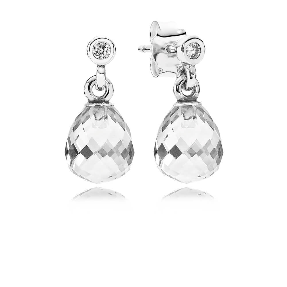 unique design special for shoe skilful manufacture Geometric Drops Dangle Earrings - Sterling Silver with Clear CZ - PANDORA -  290595CZ
