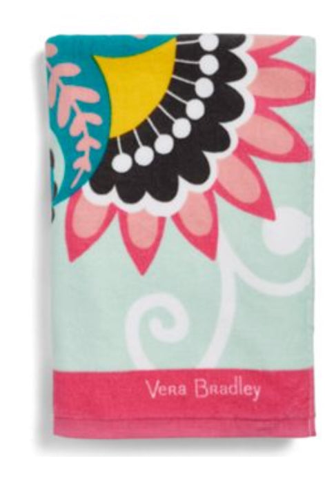 Beach Towel-Vera Bradley-Mint Flowers