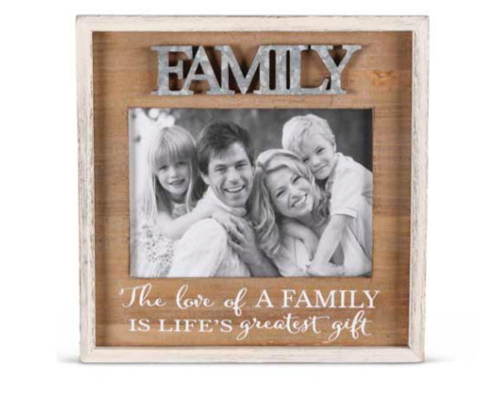 "9.25"" Wood Photo Frame With Tin Cutout"