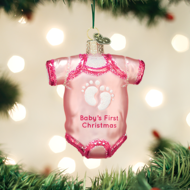 Pink Baby Onesie Ornament - Old World Christmas