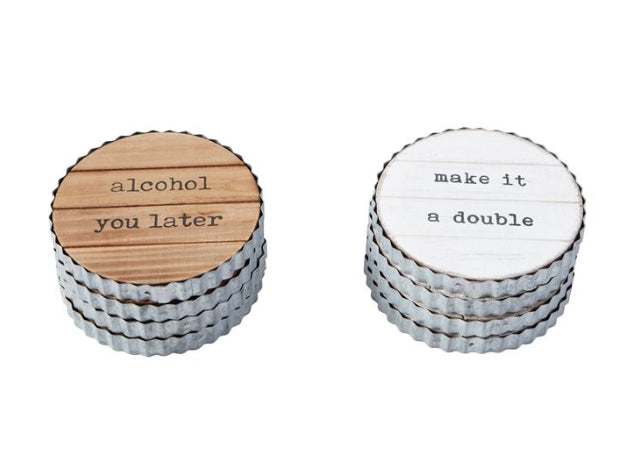 Planked Wood and Tin Coaster Set(2 Styles)