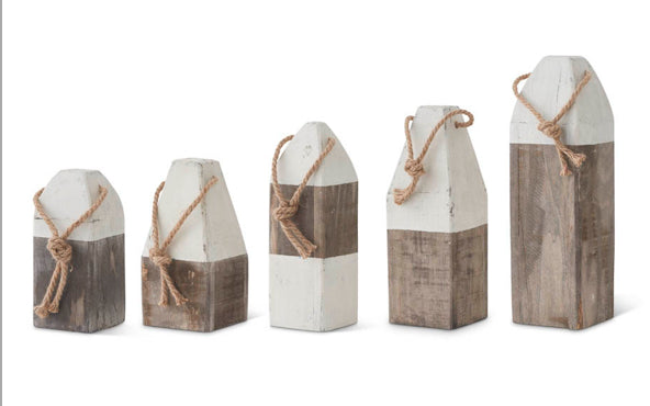 Gray and White Wooden Buoys(5 Styles Sold Separately)