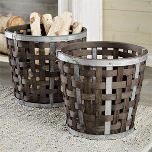Woven Wood Hearth Pail (2 Sizes)