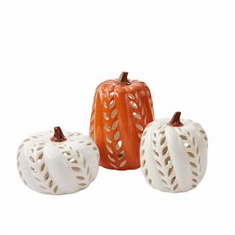 Ceramic Pumpkin Lanterns (3 Sizes Sold Separately)