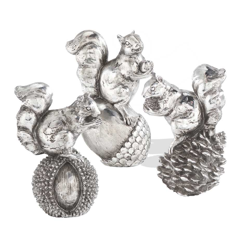 Silver Plated Squirrel on Nut (3 Styles)