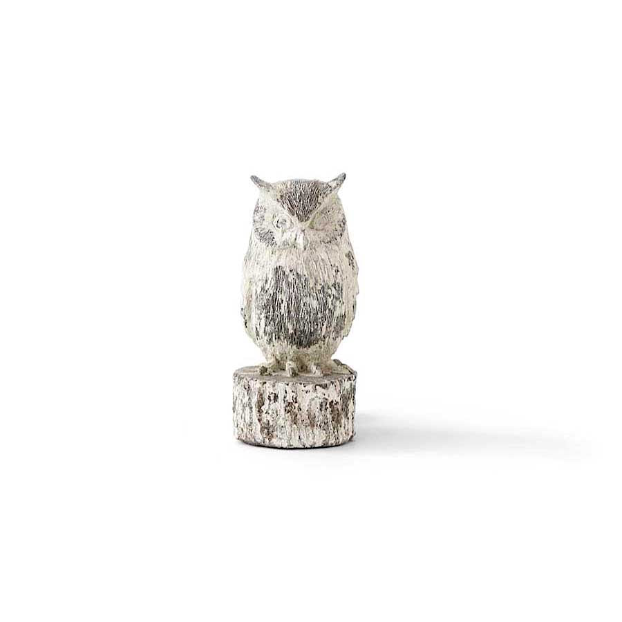 Weathered Resin Owl on a Log - 7 Inches