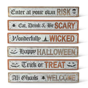Halloween Barn Board Signs w/Tin Messages (6 Styles to choose from)