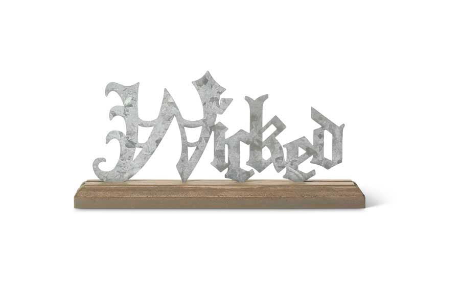 Tin Wicked Cutout Tabletop on Brown Wood Base - 9.5 Inches High
