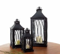 Lantern Black Metal and Glass - 3 Sizes to Choose from
