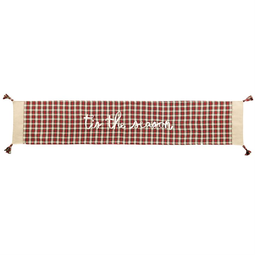 WHITE TARTAN PLAID TABLE RUNNER
