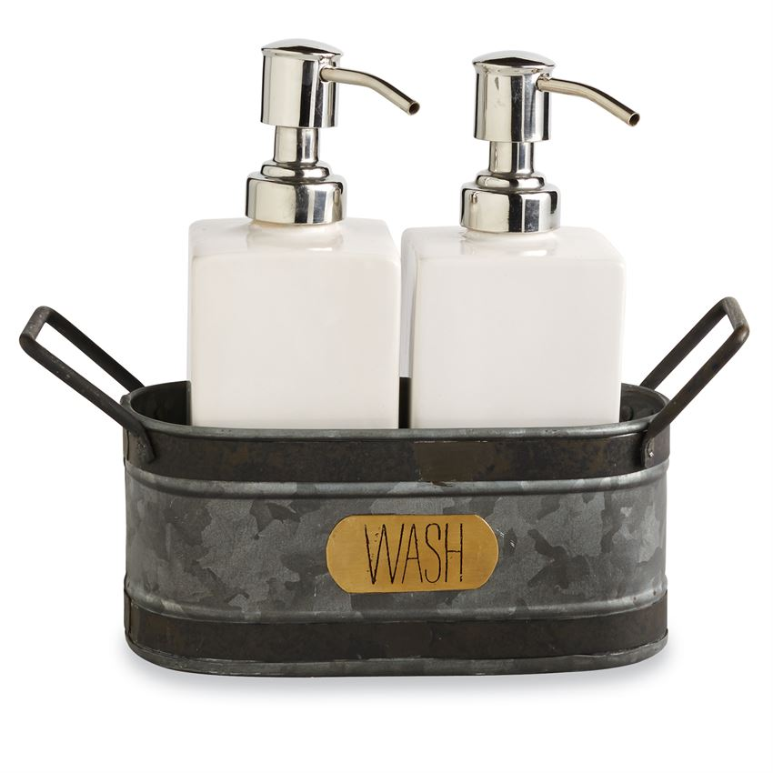 GALVANIZED SOAP IN TIN CADDY SET