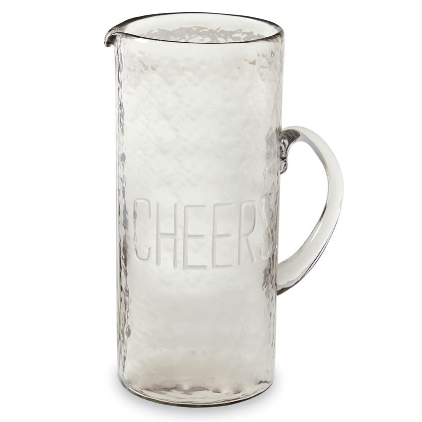 CHEERS EMBOSSED GLASS PITCHER