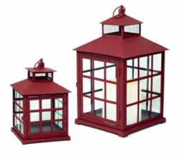 Lantern Red Metal and Glass