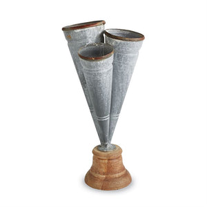 CONICAL TIN TRIPLE VASE