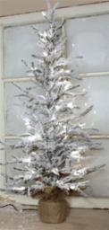 "Flocked Tree w/Burlap Base 35 Clear Bright Lights 36""H PVC/Metal/Burlap"