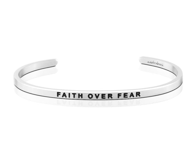 Faith Over Fear-MantraBand Bracelet-Silver