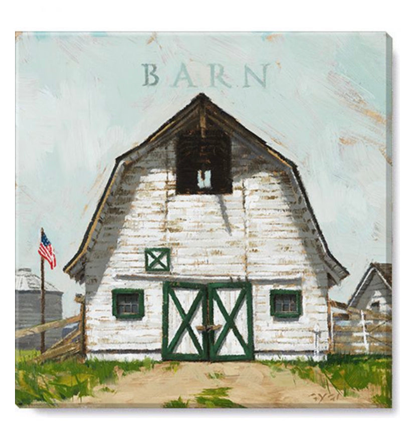 "White Barn Canvas Wall Art- 5""x5"""