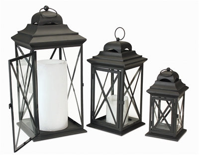 Black Iron and Glass Lantern (3 Sizes)