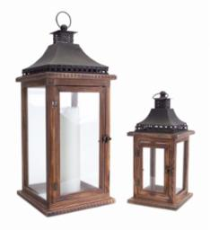 Lantern 2 sizes Wood/Iron/Glass