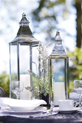 "Lantern Stainless Steel/Glass 25.75""H"