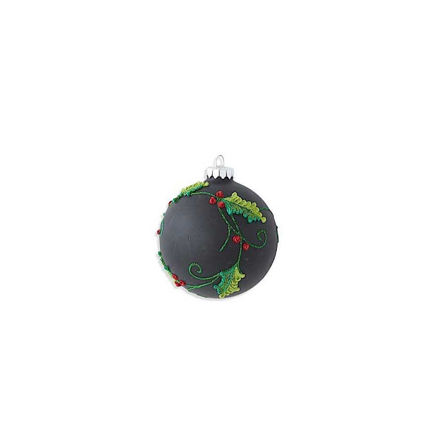 Matte Black Glass Ornament with Holly Detail