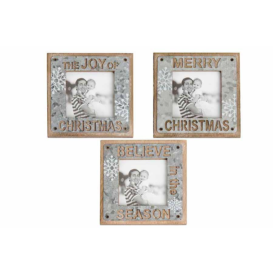 Galvanized Snowflake Square Picture Frames (Sold Separately)