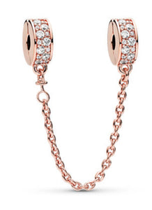 Shining Elegance Safety Chain-Pandora Rose