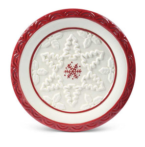 Sm White Ceramic Round Plate w/Red Snowflake Center and Border