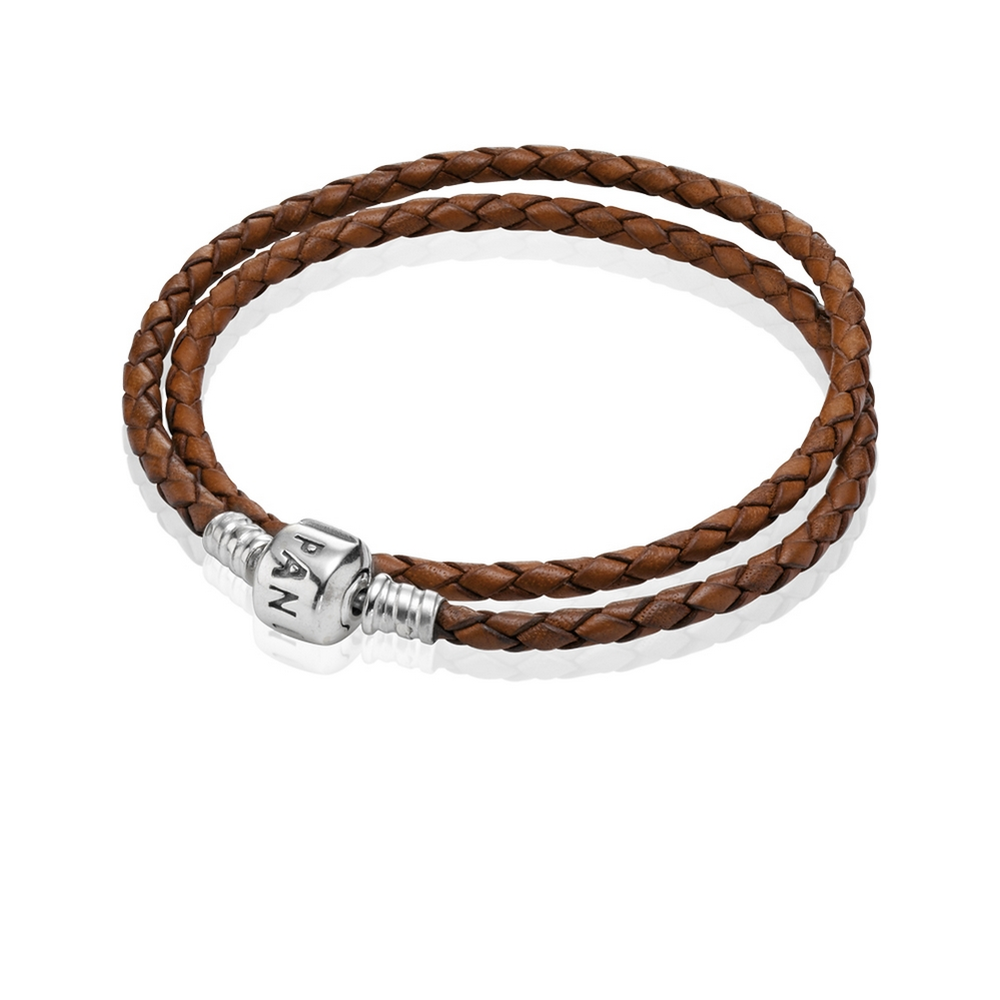 33f6a765d Brown Braided Double-Leather Charm Bracelet - PANDORA - 590705 - Red ...