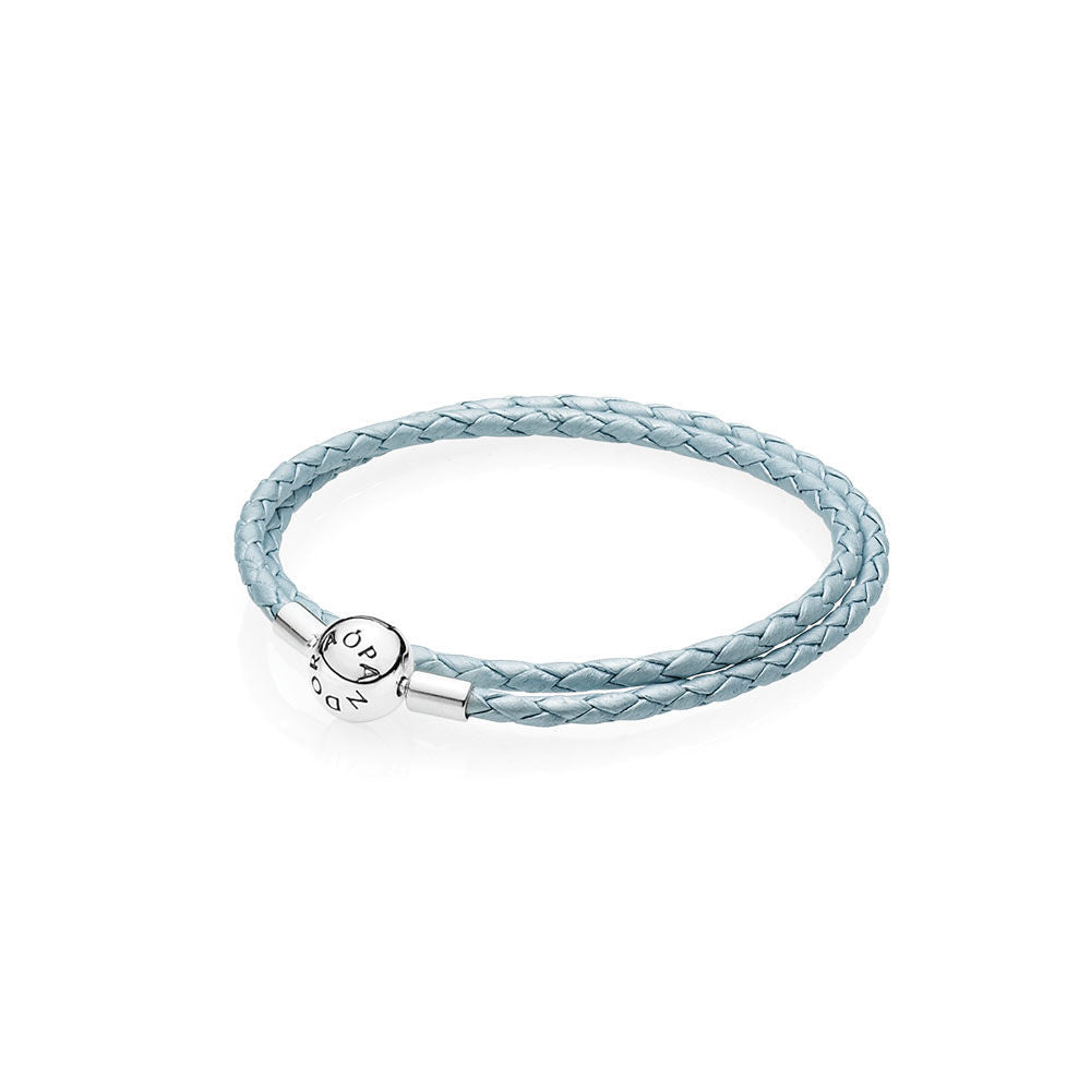 243bf1e07c8 Light Blue Braided Double Leather Charm Bracelet - with Sterling Silver  Round Clasp - PANDORA - 590734CBL-D