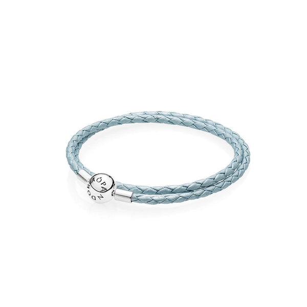 f6bcca93d Light Blue Braided Double Leather Charm Bracelet - with Sterling Silver  Round Clasp - PANDORA -