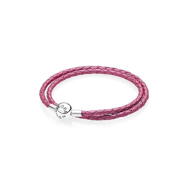 b548ab908 Honeysuckle Pink Braided Double Leather Charm Bracelet - with Sterling  Silver Round Clasp - PANDORA -