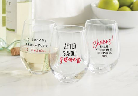 Snarky Teacher Wine Glasses