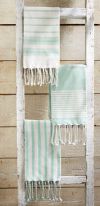 Sea foam and White Turkish Hand Towel(3 Styles)