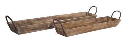 Long Narrow Brown Wood Tray Container Planter With Metal