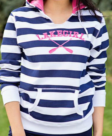 Lakeside Strip Hoodie-pink/navy
