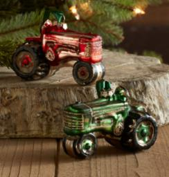 "Tractor Ornament (2 Asst) 3.5""Lx2.5""H Glass"