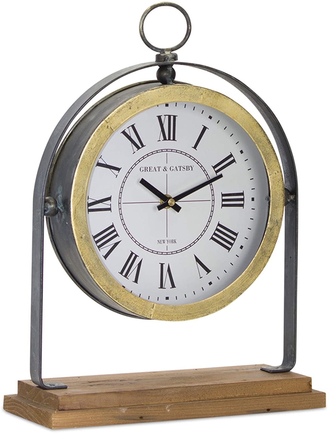 "Iron and wood clock on stand 11""x 15.5"""