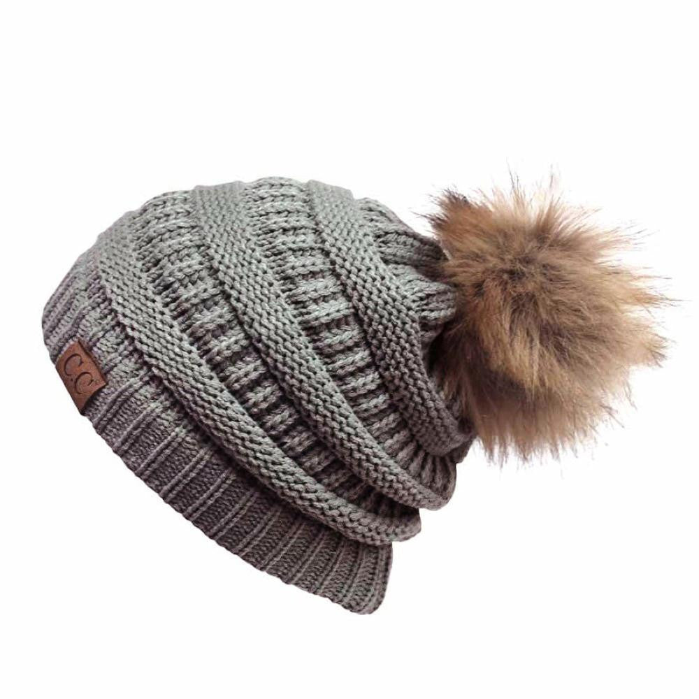 e1213836374 Cable Knit Original Beanie With Faux Fur w Pom Pom