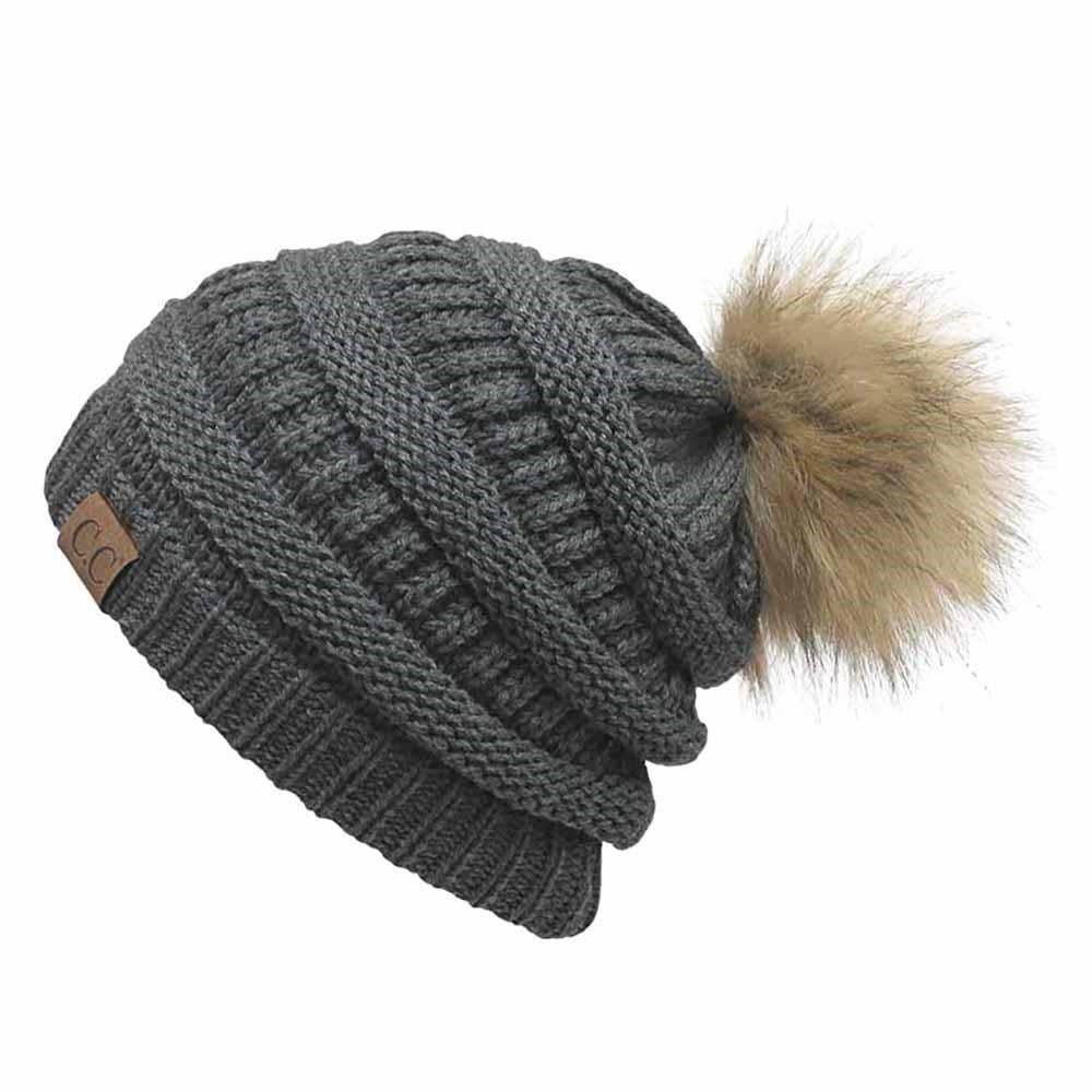 Cable Knit Original Beanie With Faux Fur w Pom Pom 6cf204162807