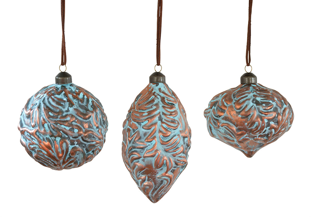 Teal / Brown Glass Ornament