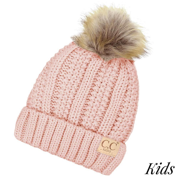 2a8e4614b7f Kids Cable Knit Original Beanie With Faux Fur w Pom Pom