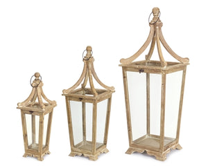 Wood and Glass Lantern- 3 Sizes