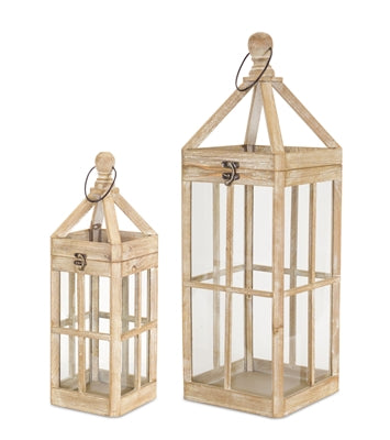 "Lantern Wood/Glass (2 Sizes) 19""H, 27""H"