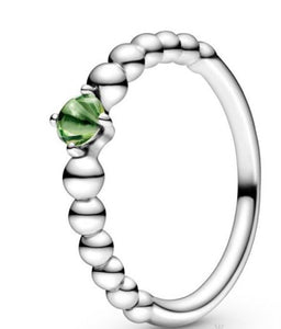 Spring Green Beaded-August Birthstone Ring-Pandora