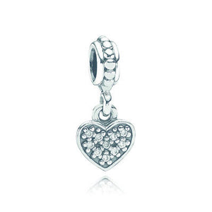 Pave Heart Dangle Charm - Sterling Silver with Clear CZ - PANDORA - 791023CZ