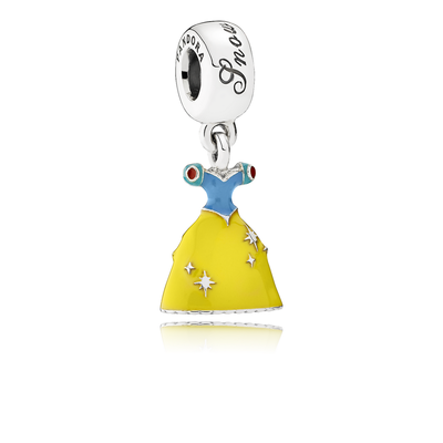 Disney Snow White's Dress Charm - Sterling Silver with Blue and Yellow Enamel - PANDORA - 791579ENMX