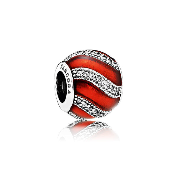 bd79acf41 Adornment Charm - Sterling Silver, Translucent Red Enamel & Clear CZ -  PANDORA - 791991EN07