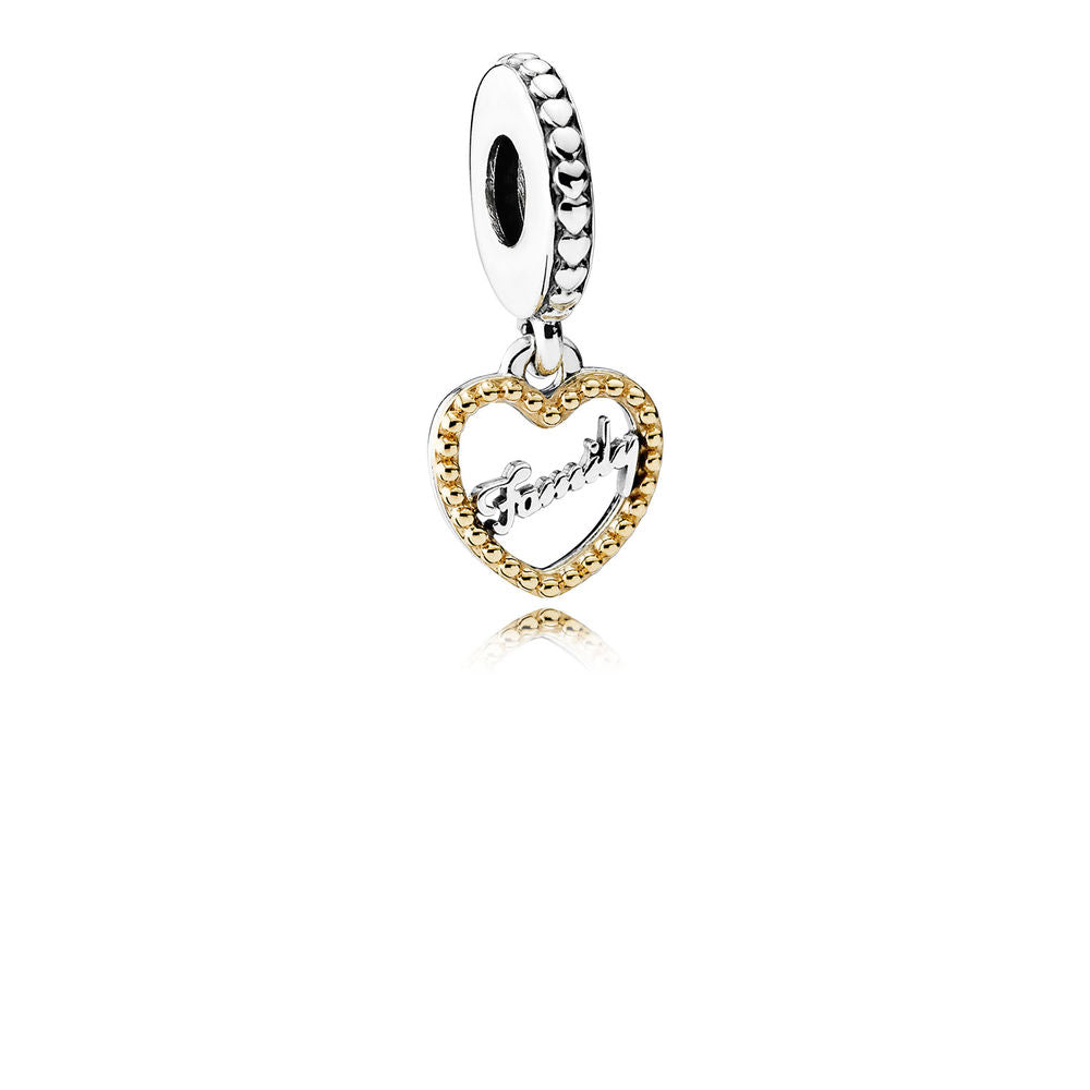ac790d6f8 Family Script Dangle Charm - Sterling Silver with 14K Gold - PANDORA -  792011
